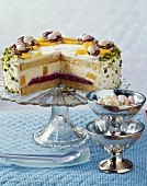 Peach Melba cake for Easter