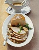 Roast pork with mushroom cream sauce