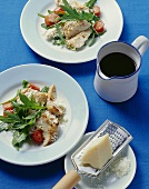 Strips of turkey breast with Parmesan, rocket & cocktail tomatoes