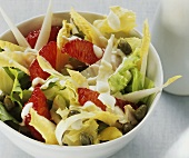 Endive and chicory salad with blood orange segments