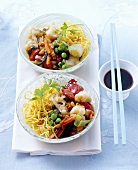 Noodles with Chinese vegetable sauce