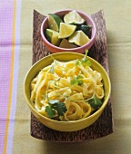 Ribbon noodles with coconut curry sauce