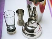 Bar utensils (cocktail shaker and measure)