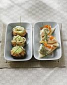 Salmon tartare on pumpernickel and trout cream on toast