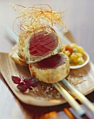 Tuna in crisp pastry casing with mango chutney