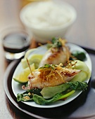 Stuffed squid with ginger and tamarind sauce