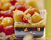 Colourful tomato tart with yoghurt and Parmesan crisps