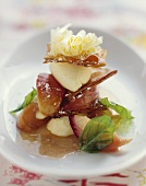 Strudel pastry with peach and white chocolate mousse