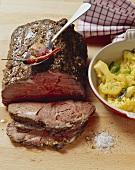 Rib eye steak with coriander, aniseed and cauliflower