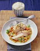 Swordfish steak with passion fruit, papaya and vanilla