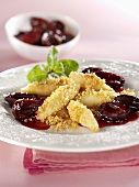 Potato noodles with buttered breadcrumbs and plum compote