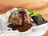 Mohr im Hemd (Chocolate pudding with cream & chocolate sauce)
