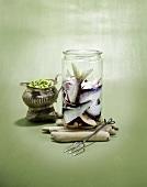 Pickled herrings in a jar