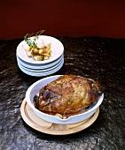 Roast leg of lamb with garlic