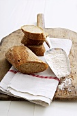 Wholemeal baguette, a piece and slices, flour in scoop
