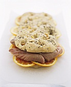 Focaccia with fennel seeds filled with tuna & orange slices