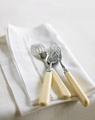 Fish forks on fabric napkin