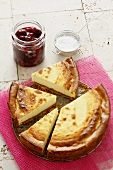 Cheesecake with cherry compote