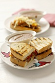 Grilled pepper panini with black bean dip