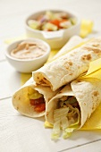 Tortilla rolls filled with tuna salad