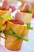 Hot dogs with chives for a children's party