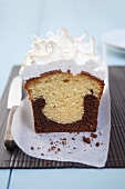 Marble cake with meringue topping