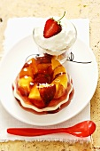 Peach and strawberry jelly with whipped cream