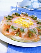 Asparagus, coley and sweetcorn in aspic
