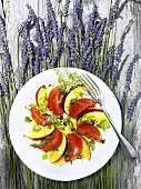 Nectarine & tomato salad with lavender & herb vinaigrette