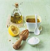 Mustard dressing with ingredients (sea salt, lemon, olive oil)