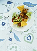 Sweetcorn falafel with guacamole and taco chips