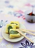 Crispy tofu cushions in rice paper