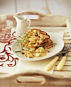 Pancakes with chestnut and mushroom sauce and rosemary
