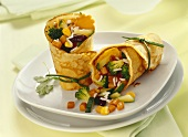 Crêpe rolls with vegetable filling