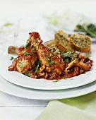 Pollo alla cacciatora (Chicken with tomatoes & mushrooms)