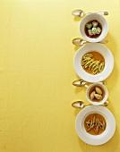 Liver spaetzle, forcemeat dumplings, pancake, ricotta dumplings for soups