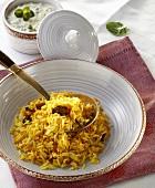 Kitchri (rice with lentils, India) and cucumber raita