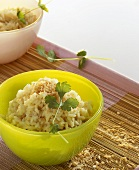 Coconut rice with coriander leaves