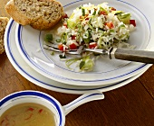 Rice, cucumber and pepper salad with honey dressing