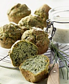 Savoury kale muffins with chive dip