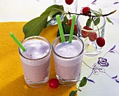 Soya milk with coconut and sour cherries