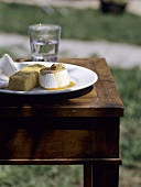Polenta slice, fresh goat's cheese, honey & toasted walnut