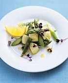 Asparagus and melon salad with spicy orange vinaigrette