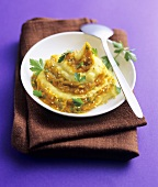 Swirled sesame carrot puree and mashed potato