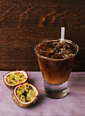 Coffee drink with passion fruit and chocolate