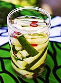Pickled cucumber with chilli rings