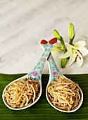 Soya bean sprouts on Chinese spoons