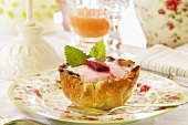 Rhubarb dessert in pastry shell