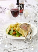 Beef Wellington with vegetables for Christmas