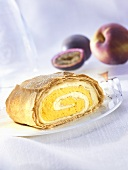 Peach and passion fruit strudel